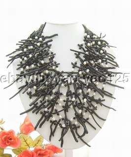 Charming 9Strds Pearl&Black Carol&Crystal Necklace