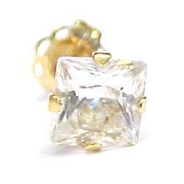 ONE .60ct Cubic Zirconia / 14KT Solid Gold Stud Earring