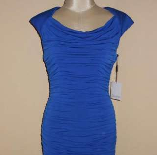 NWT Calvin Klein Sapphire Blue Ruched Jersey Cocktail Dress 4