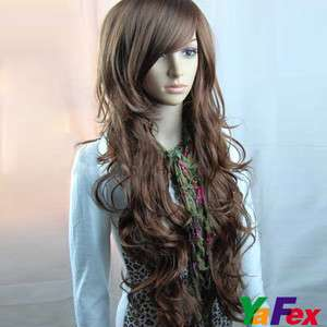 Luxury fashion popular long curly hair wigs fancy dress 3Color+wig cap