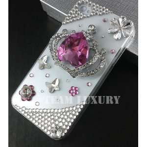 Bling Pink Crown Crystal Rhinestone Case Cover for Apple Iphone 4 & 4s