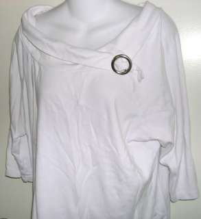 Cute white cotton ¾ sleeve shirt by Faded Glory size 18W/20W. 100%