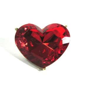 Heart Crystal Cocktail Ring Large Gem Adjustable Ruby Red