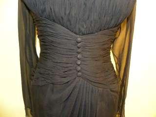 OSCAR DE LA RENTA Navy Blue Silk Chiffon Ruched Gown 6