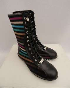 BN Auth Sonia Rykiel Black Leather High Top Ankle Boots / Sneakers UK6
