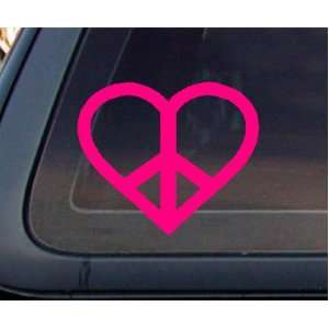 PINK Heart Peace Sign Car Decal / Sticker Automotive