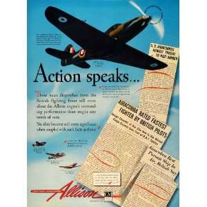 1942 Ad Allison Aircraft Engines WWII Military Airplanes