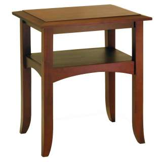 Craftsman Wood End Table with Shelf   Antique Walnut