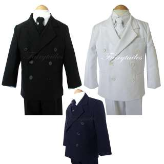 DB Boy Kids Black/White/Navy Tuxedo Dress Suit Set Teen