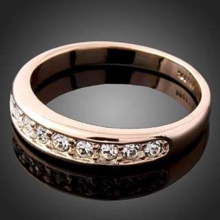 Ros gold GP Swarovski Crystal Fashion Wedding Band Ring