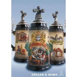 Rustic Oktoberfest with Figurine Lid Oktoberfest German Beer Stein 1