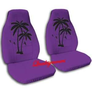 2 purple car seat covers with black palm trees for a 2008