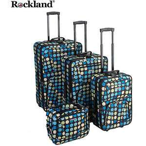 Rockland Deluxe Multi Dot 4 pc Luggage set Rolling NEW