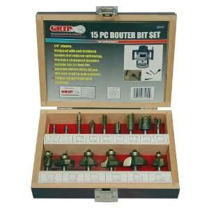 Grip 15 pc Tungsten Carbide Router Bit Set: Home Improvement