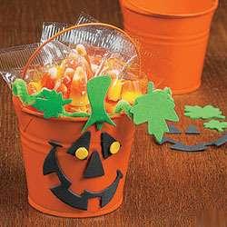 Lot of 12 Pumpkin Bucket Craft Kit Halloween Party