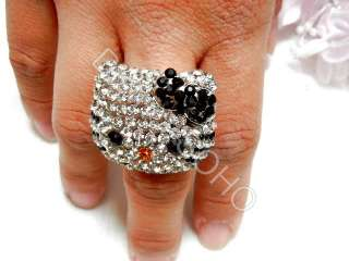 Gothic HELLO KITTY Rings Crystal Gem engagement wedding