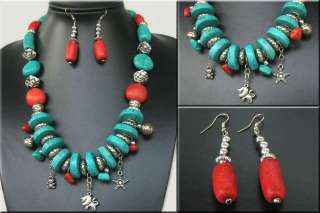 Tibetan Silver Coral Turquoise NECKLACE EARRING SET