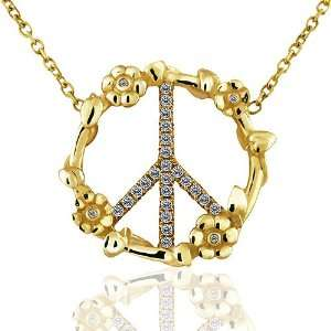0.30CT Diamond 14K Yellow Gold Designer Peace Sign Flower