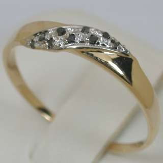 CTS 14K SOLID YELLOW GOLD NATURAL SI1 BLACK DIAMOND CLUSTER BAND RING