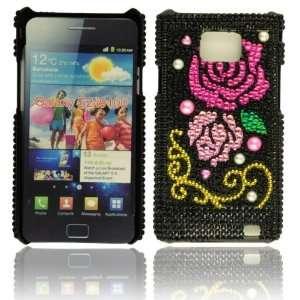 WalkNTalkOnline   Samsung i9100 Galaxy S 2 Black & Pink & Gold Rose