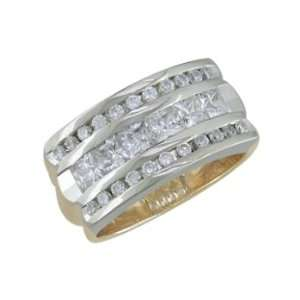 Diva   size 13.50 14K 28 Stone Princess Cut Center Diamond Ring