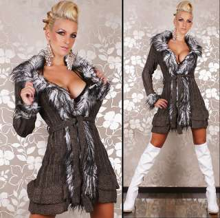 Sexy Long Sleeve faux fur Cardigan Coat jacket sweaters 3 Colours