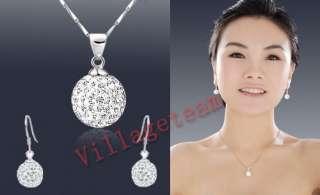 2012 Fashion Swarovski Crystal Disco Ball Solid Silver Earring