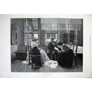 1891 Paul Rieth Fine Art Man Ladies Sewing Reading Book