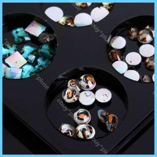 60pcs Leopard Print Rhinestones Glass Nail Art Glitters DIY