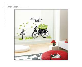 FLOWER CART Home Decor Vinyl Art DIY Wall Sticker Decal