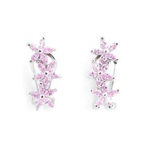 Dark Pink Flower Rhodium Plated (.925) Sterling Silver Earrings (Nice