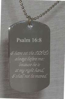 Psalm 16 Bible Verse Text Engraved Dog Tag Christian