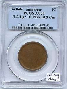 Large Cent Planchet Mint Error PCGS AU 50 The Real Thing!