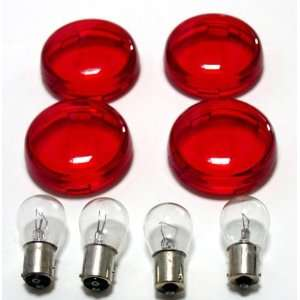Harley Red Deuce Style Turn Signal Lens Kit With Clear Bulbs For 2000