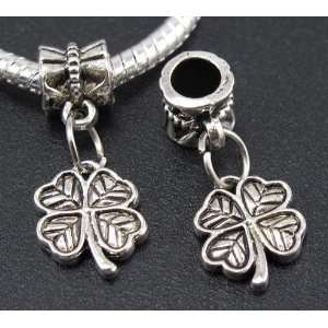 Silver Clover Dangle Charm Bead for Bracelet or Necklace