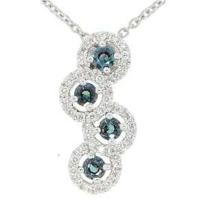Genuine 4 Round Cut Alexandrite & Bright Fine Diamond Pendant in 18 kt