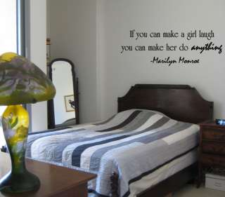 MAKE A GIRL LAUGH Marilyn Monroe Wall Quote Vinyl Sticker Home Decor