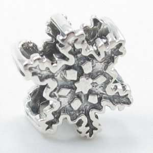 E52 Silver Snowflake Solid Silver European Bead Charm Fits