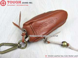 New TOUGH Leather Durable Brown Small Key Coin Wallet