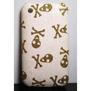 Premium Gold X Skull Glitter Design on White Hard