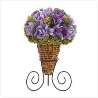 Purple Roses Flower w/ Wicker Vase Wedding Centerpieces