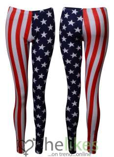 Womens Full Length Leggings Ladies American Flag Stars Stripes Legging