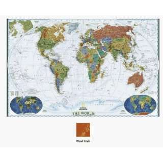 World Enlarged Mounted Map   Wood Grain Beveled Edge: Toys & Games