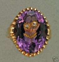 1930s 14K YELLOW GOLD MEDIUM PURPLE AMETHYST & ROSE CUT DIAMOND RING