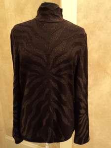 New w. Tags ST. JOHN Brown Tiger Print Sweater Sz Large Rt. $695