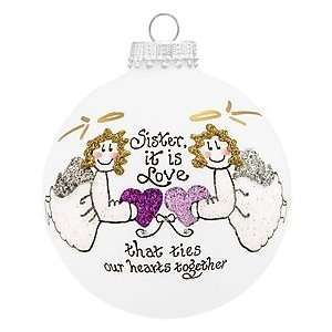 Sister Love Ties Heart Gifts Glass Ornament