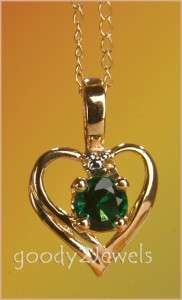 10K GOLD CREATED EMERALD HEART PENDANT/NECKLACE   NEW