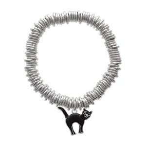 Arching Black Cat Charm Links Bracelet Arts, Crafts