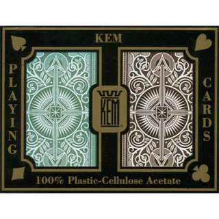 KEM Plastic Playing Cards Arrow Green/Brown Bridge Reg