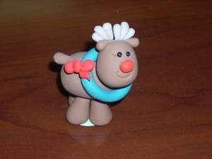 Handmade OOAK Polymer Clay Christmas Reindeer w Wreath